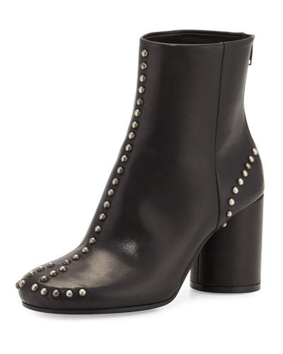 Maison Margiela Studded Leather Round-Heel Ankle Boot, Black