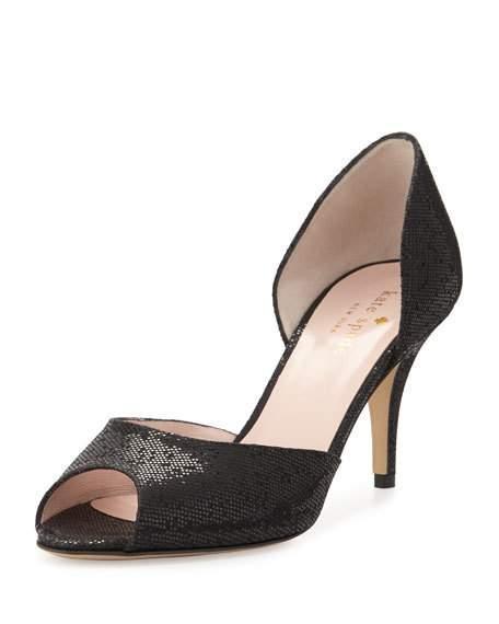 Kate Spade Sage Peep-Toe Glitter D'Orsay Pump, Black