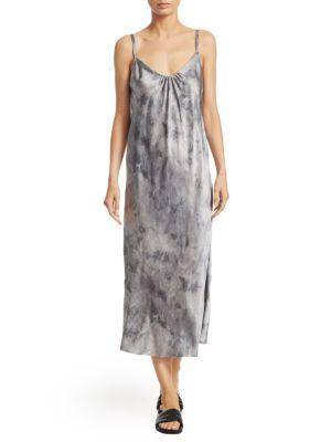 Vince Watercolor Marble Shirred Silk Dress In Grey Multi