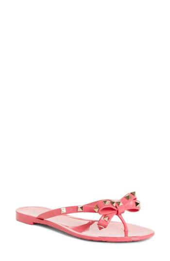 e4c21eb58 Valentino Jelly Rockstud Flat Thong Sandals In Water Rose