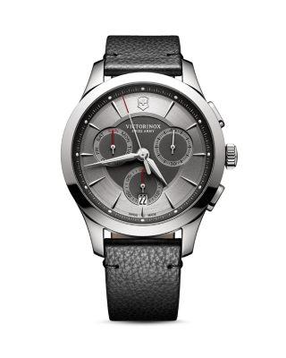 Victorinox Swiss Army Stainless Steel Chronograph Pebbled Leather Strap Watch In Grey