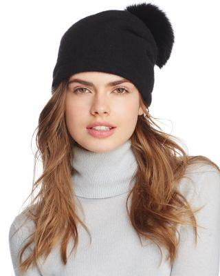 8ee5b35c9 Slouchy Wool Knit Beanie With Genuine Fox Fur Pom - Black in Black/Black