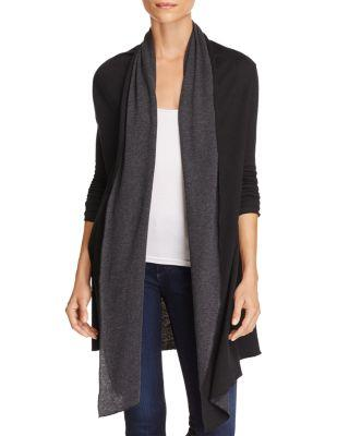Majestic Cotton-cashmere Double-face Waterfall Cardigan In Black Anthracite