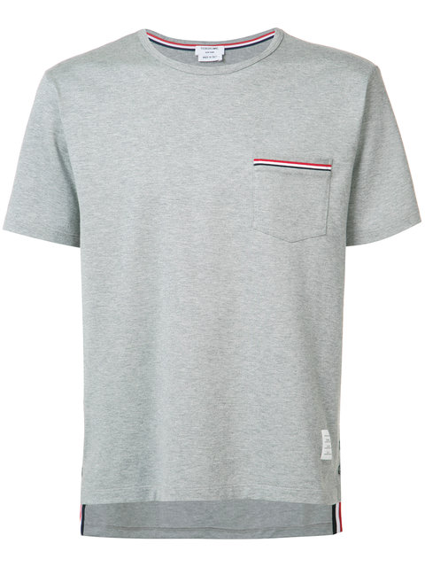 Thom Browne Slim-Fit Grosgrain-Trimmed Cotton-Jersey T-Shirt In 055Ltgry/Gray