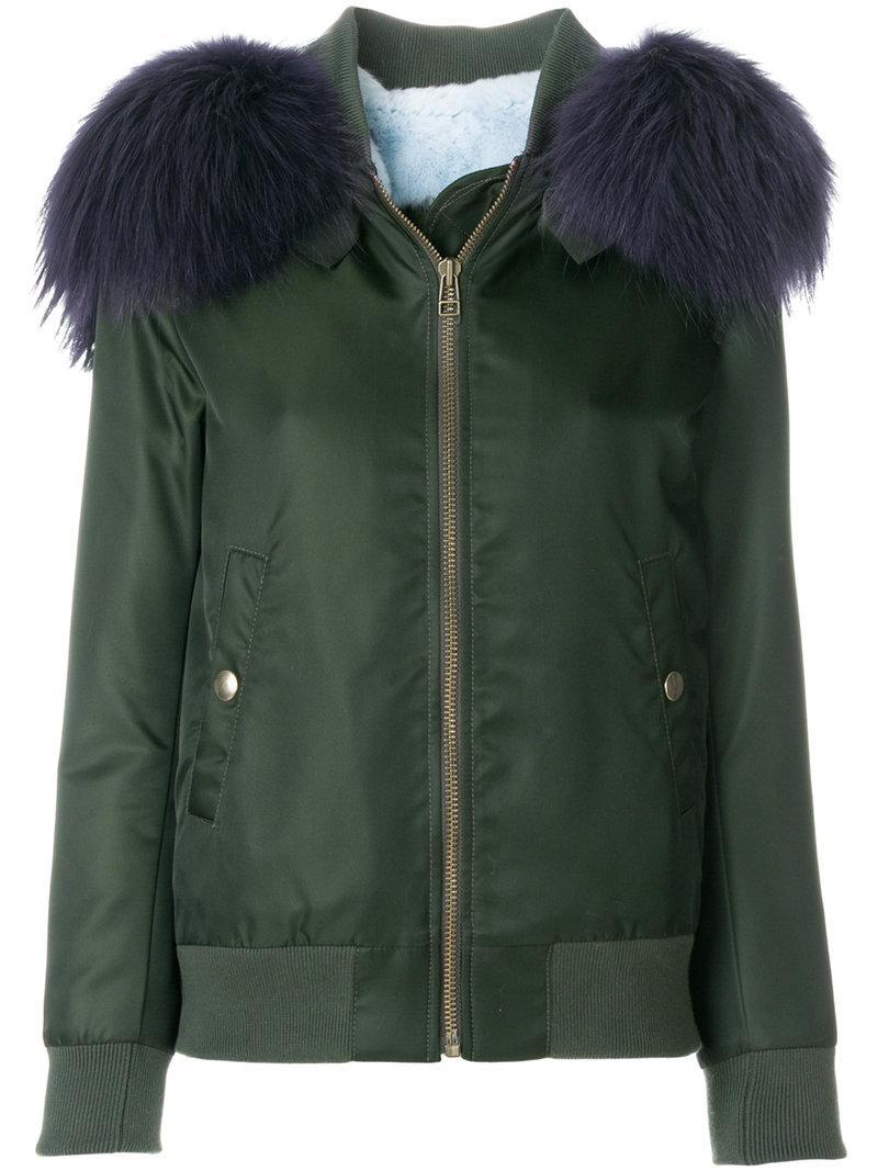 63bcd616a5d Mr & Mrs Italy Fur Hood Bomber Jacket In Green   ModeSens