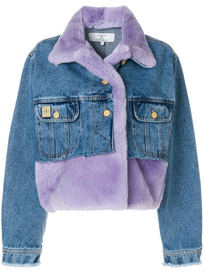 Natasha Zinko Cropped Panelled Denim Jacket In Denim/lilac