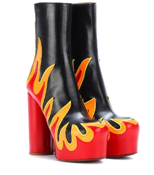 4aca140de019a Vetements Ssense Exclusive Black & Red Leather Flame Boots | ModeSens