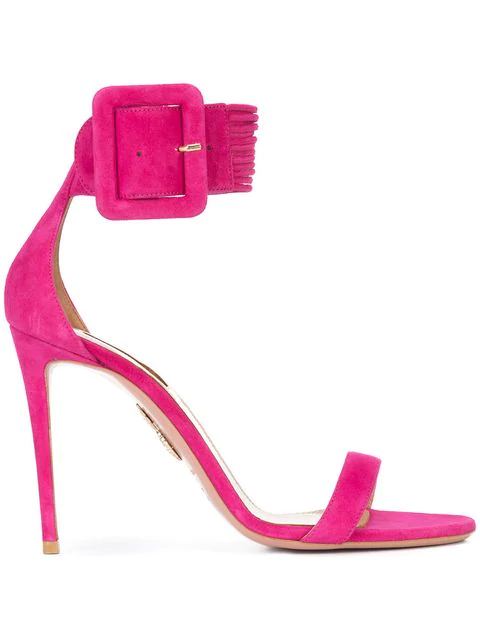 Aquazzura Casablanca 105 Suede Sandals In Pink