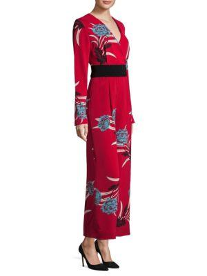 3888b140eb6b Diane Von Furstenberg Wrap-Effect Floral-Print Crepe Jumpsuit In Farren  Lipstick