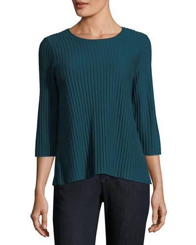 d3d83cc7fbb03 Eileen Fisher 3 4-Sleeve Fine-Ribbed Wool Top