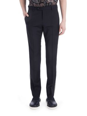 Valentino Piped Cotton Pants In Navy