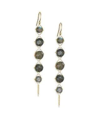Amali Labradorite Drop Earrings In Yellow Gold