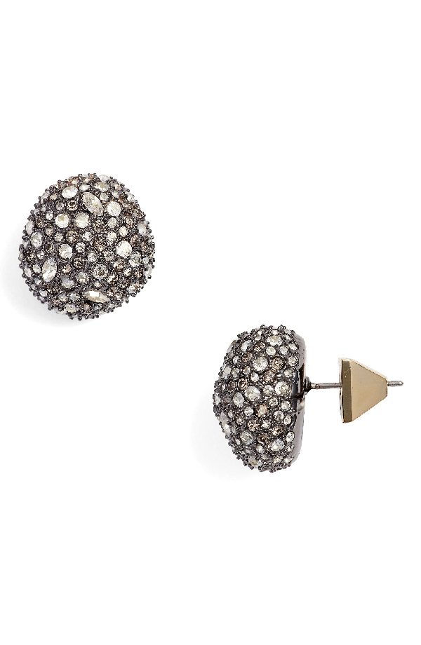 Alexis Bittar Swarovski Crystal Encrusted Button Stud Earrings In Gold