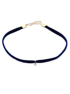 Kismet By Milka Beads Diamond & Velvet Choker In Navy