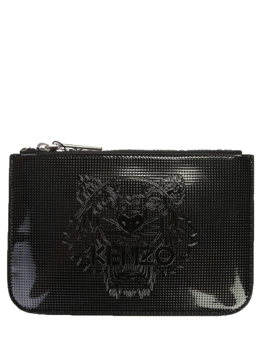 Kenzo Logo Embossed Pvc Clutch Bag In Black