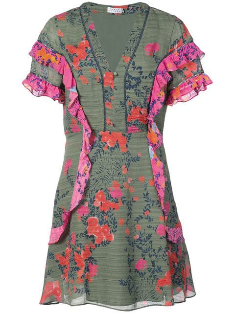 Tanya Taylor Rhett Falling Floral-Print Silk Short Dress In Army