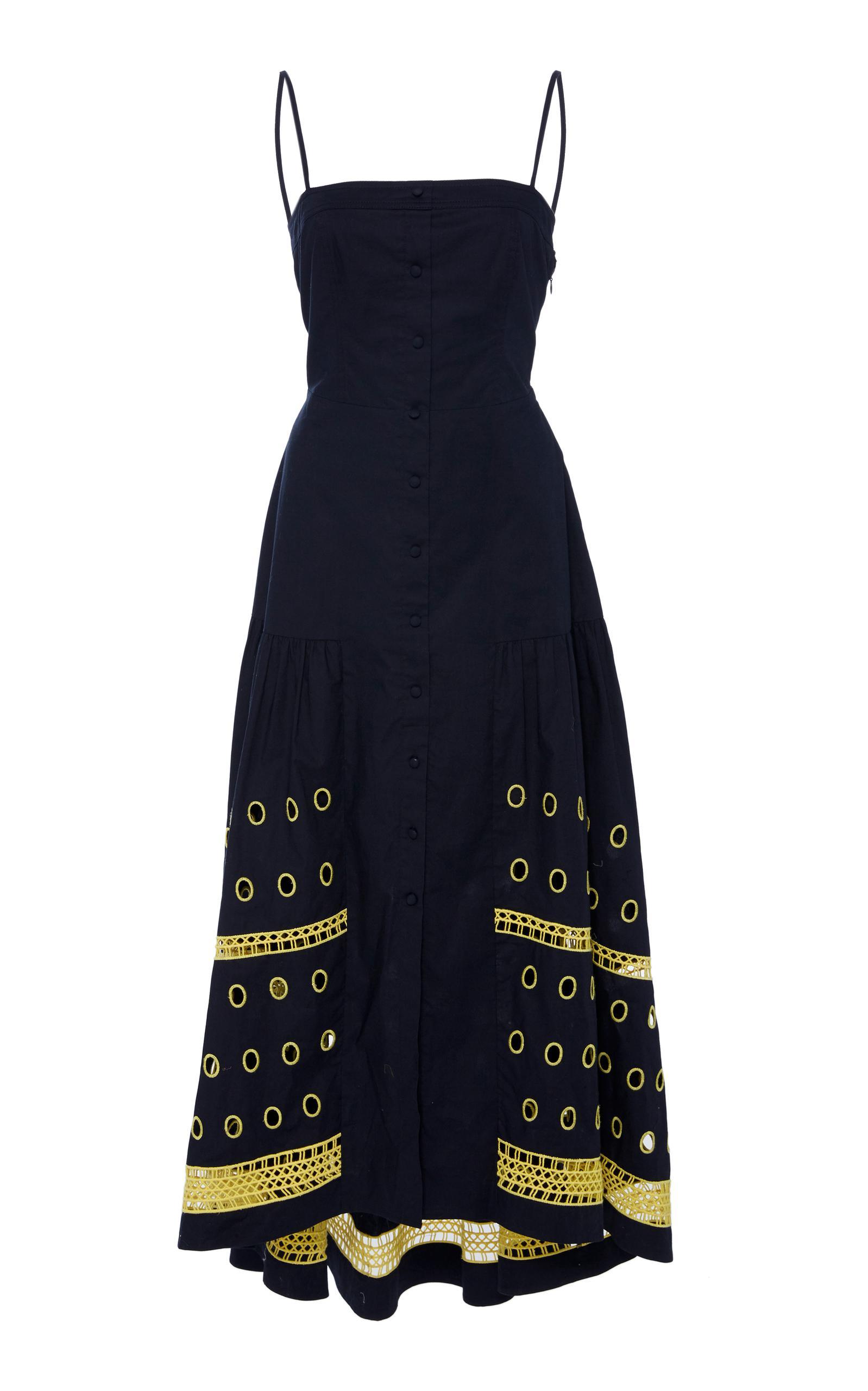 f0b7b29d823 Tanya Taylor Renee Halter Button-Down Linen-Blend Dress W  Graphic Eyelet-