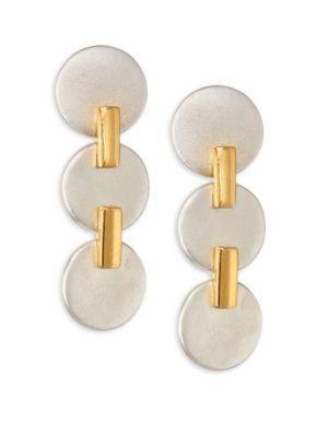 Stephanie Kantis Two-Tone Triple Disc Drop Earrings In White