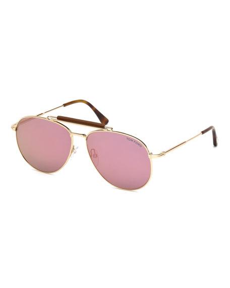 Tom Ford Metal Aviator Sunglasses In Rose Gold