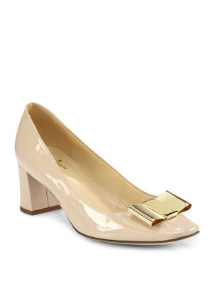 Kate Spade Dijon Patent Leather Bow Pumps In Powder