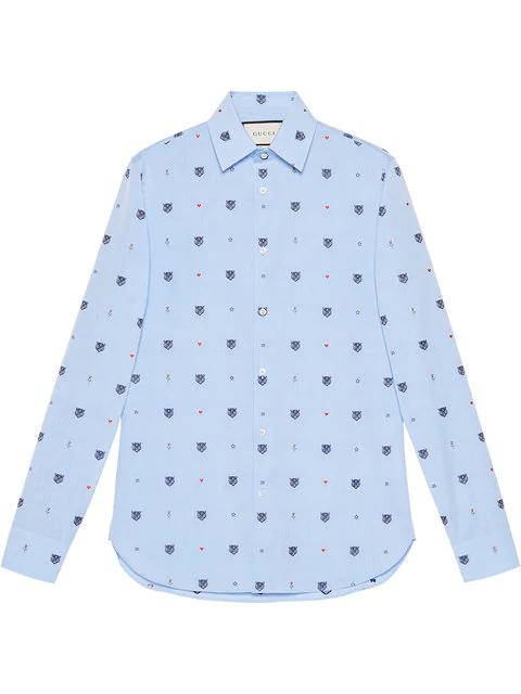 Gucci Feline Head And Symbols Fil CoupÉ Shirt In Blue