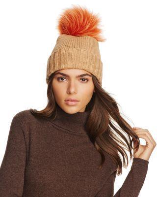 Inverni Foldover Knit Beanie With Asiatic Raccoon Fur Pom-Pom In Curry