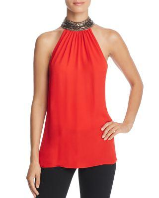 e101489c9a872 Ramy Brook Veronica Beaded Mock-Neck Silk Halter Top In Red