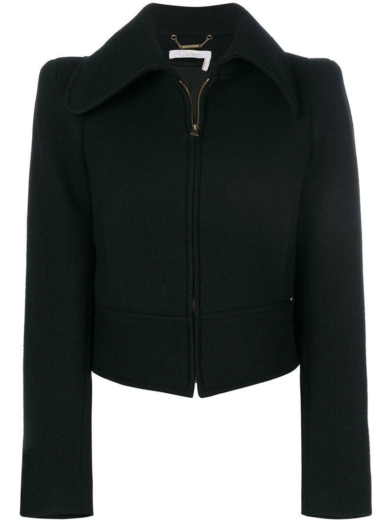 ChloÉ Black Cropped Zip Jacket