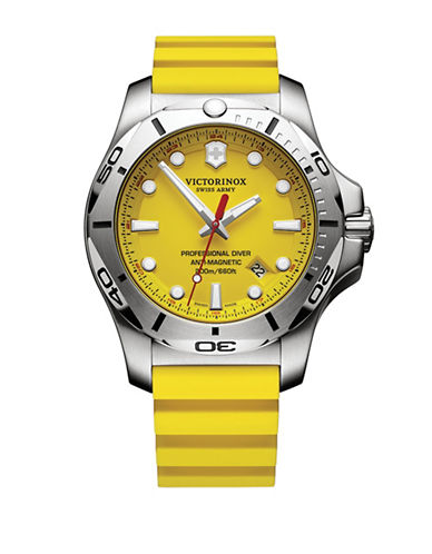 Victorinox Swiss Army Inox Professional Diver Stainless Steel And Rubber Strap Watch In Yellow