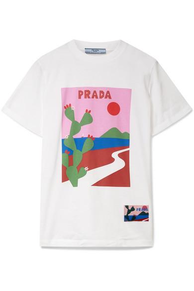 028dc7be Prada Cactus Printed Cotton Jersey T-Shirt In White | ModeSens