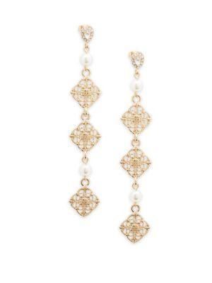 d94ffe7ab Ettika Geometric Crystal Drop Earrings In Gold   ModeSens