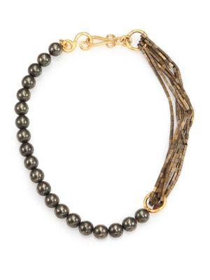 Stephanie Kantis Allure Green Moss Agate & Hematite Beaded Necklace In Gold-Green