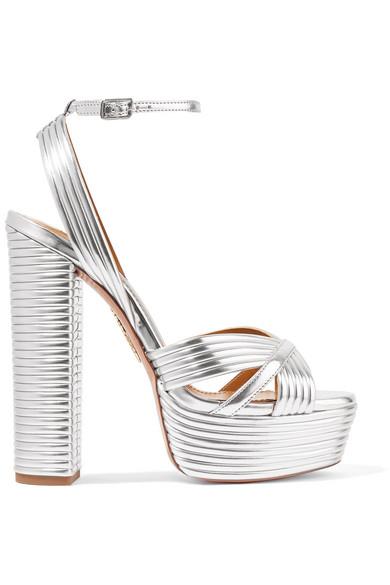 67f5756ffc Aquazzura Sundance 150 Metallic Faux Leather Platform Sandals In Silver