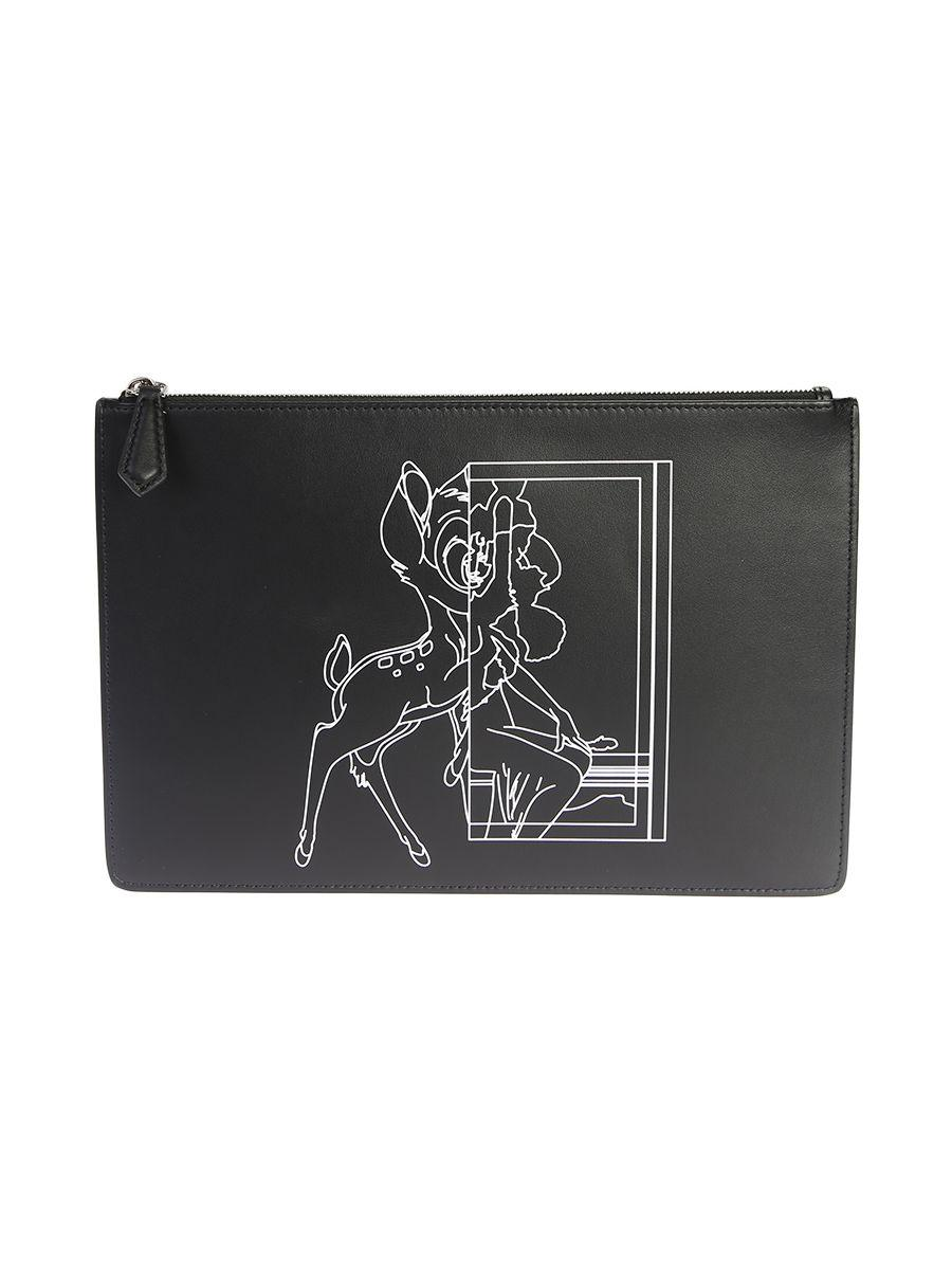 Givenchy Printed Leather Bambi Medium Clutch In Black