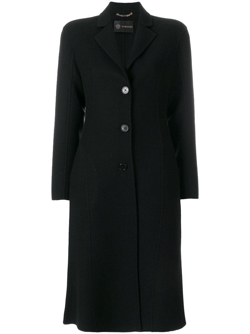 Versace Slim Single-Breasted Coat In Black