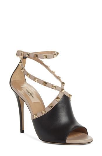 Valentino Rockstud Peep Toe Sandal In Black