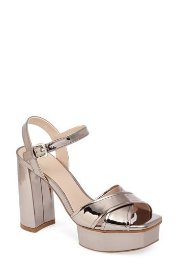182836b300e Stuart Weitzman Exposed Platform Sandal In Tin Glass