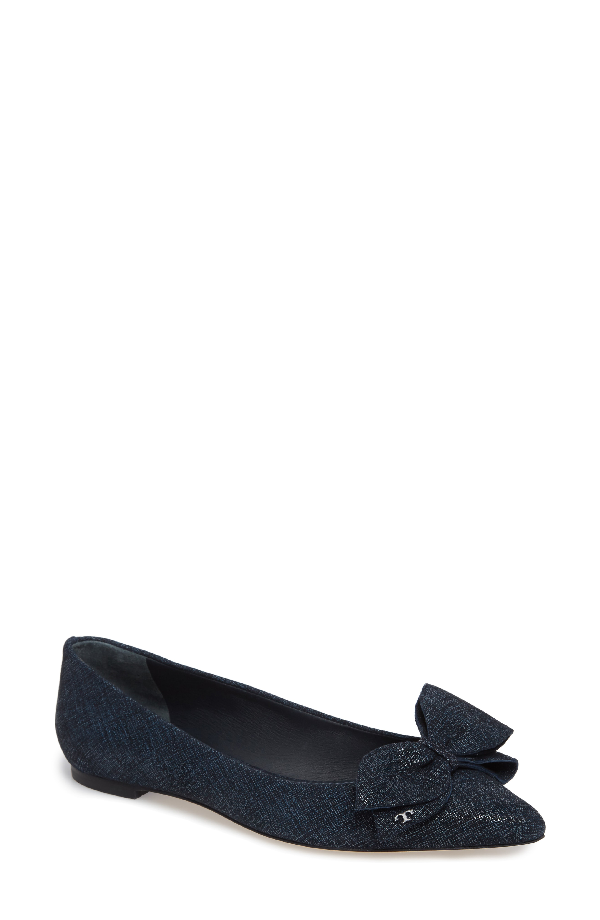 05d3feab097e Tory Burch Women s Rosalind Printed Suede Pointed Toe Flats In Navy ...