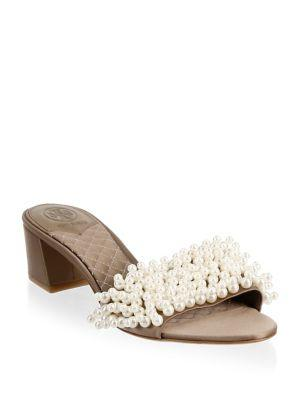 7477155c3c1 Tory Burch Tatiana Embellished Slip-On Sandals In New Dust Storm ...