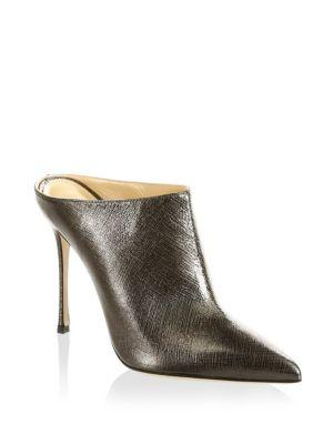 Sergio Rossi Women's Godiva Leather High-Heel Pointed Toe Mules In Anthracite
