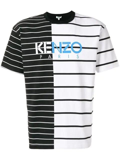 8329fe0f5 Kenzo Logo-Print Split-Striped Cotton T-Shirt In Black | ModeSens