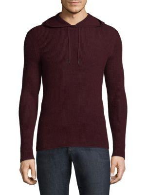 John Varvatos Waffle-Knit Pullover Hoodie In Wine