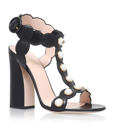 9fc492bd9 Gucci Black Willow Leather Heeled Sandal In Black Leather | ModeSens