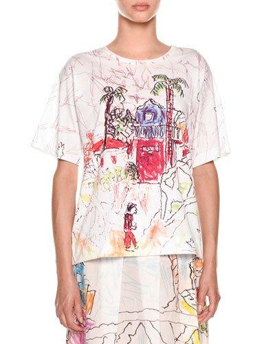 b131097168e Marni Artist Collaboration Short-Sleeve Jersey Cotton T-Shirt In White
