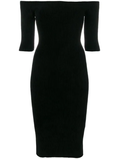 Helmut Lang Off-The-Shoulder Seamless Fitted Rib-Knit Dress In Black