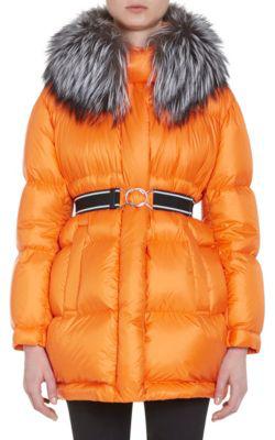 Prada Fur-Trimmed Oversized Down-Quilted Coat - Orange In Yellow