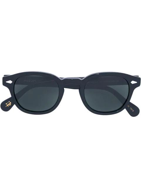 Moscot Matte Round Frame Sunglasses In Black