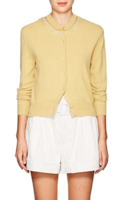 Marc Jacobs Embellished Wool-Cashmere Cardigan In Yellow
