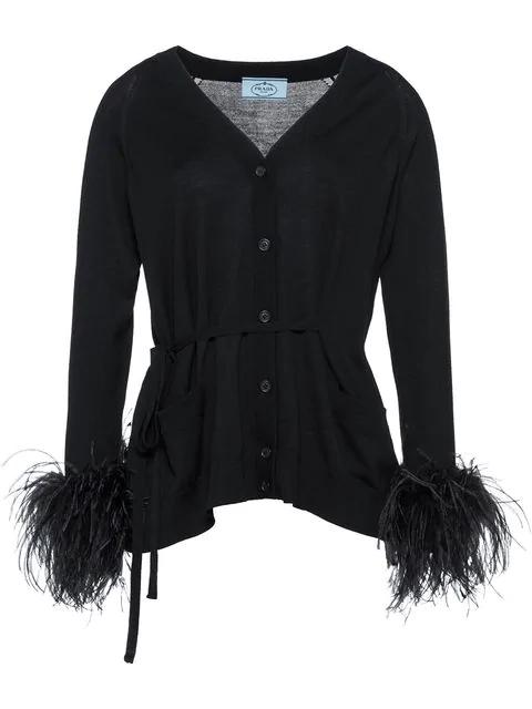 c26322e0c1a Prada Ostrich-Feather-Embellished Cotton Cardigan - Black   ModeSens