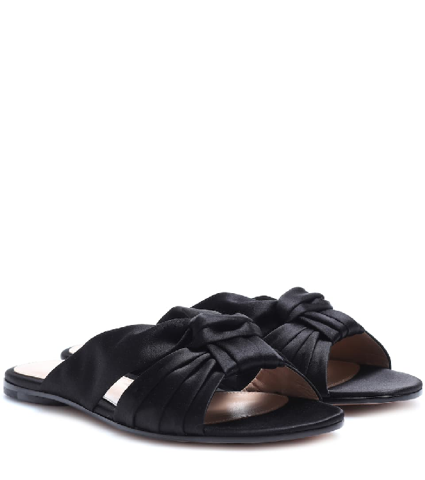 Gianvito Rossi Flat Suede Ribbon Slide Sandals In Black